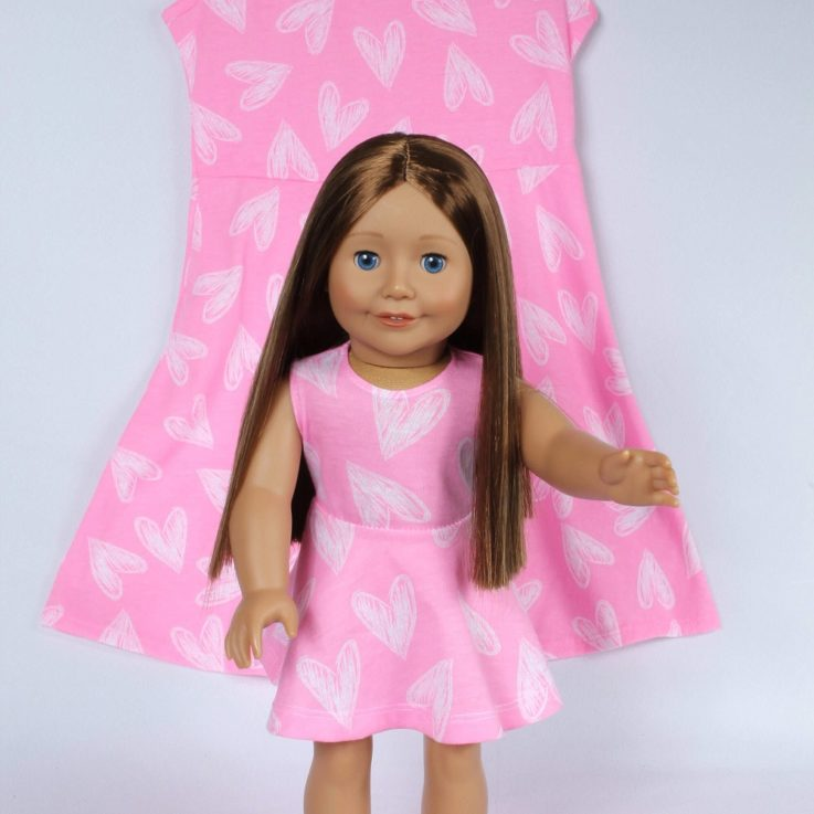 Matching Girl and Doll Summer sleeveless Pink Heart Dresses
