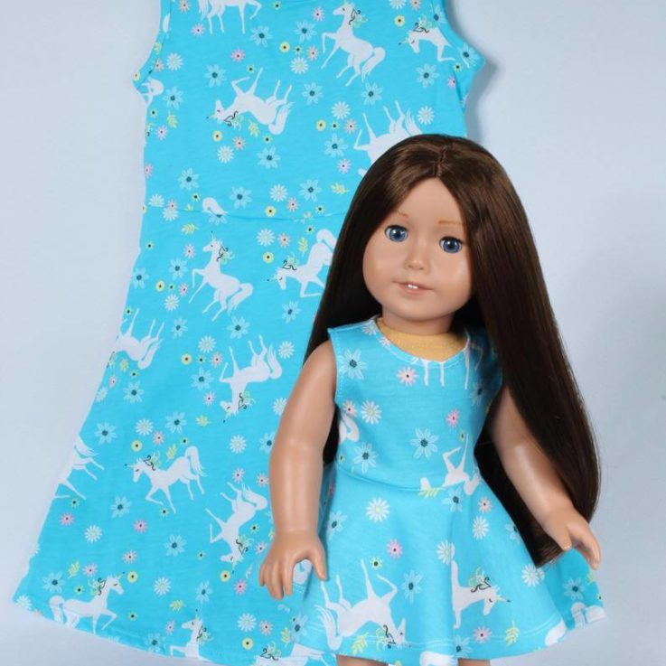 Matching Unicorn Girl and Doll Sleeveless Summer Dresses
