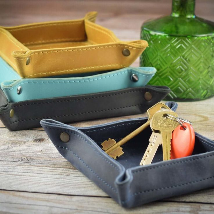 Personalized leather catch all tray