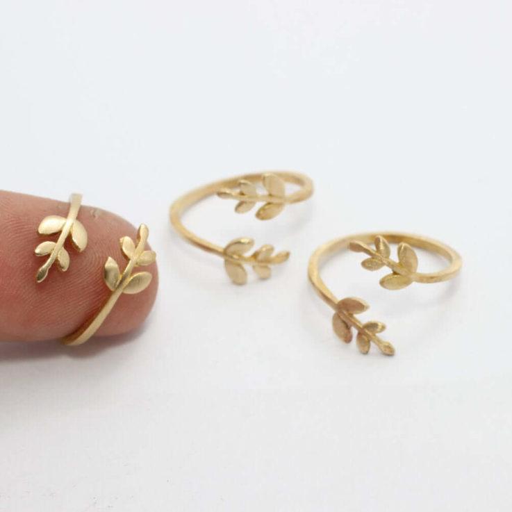 Raw-Brass-Leaf-Rings