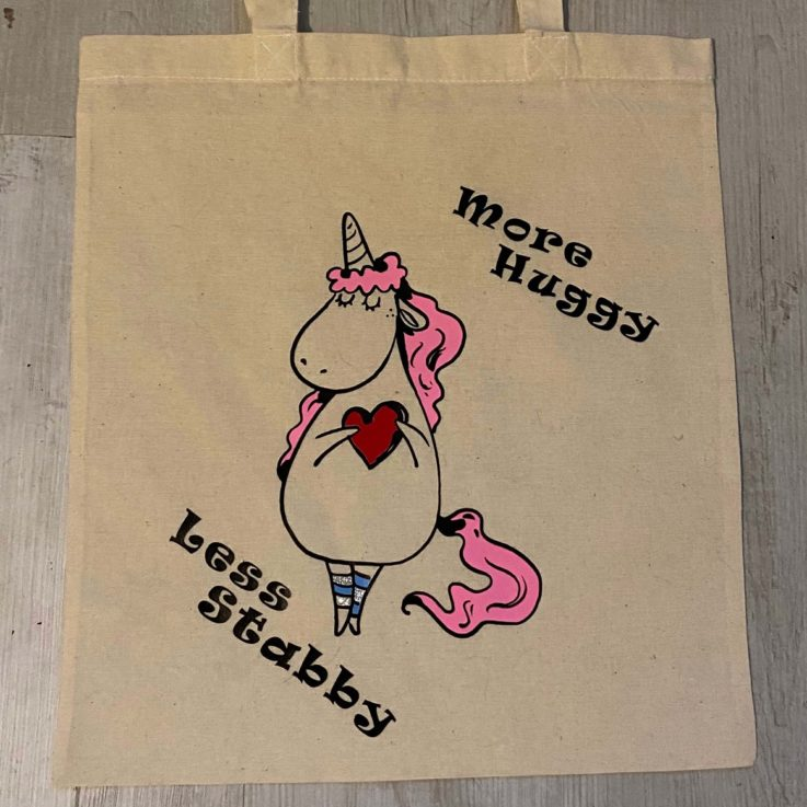 Unicorn More Huggy Less Stabby Cotton Tote bag