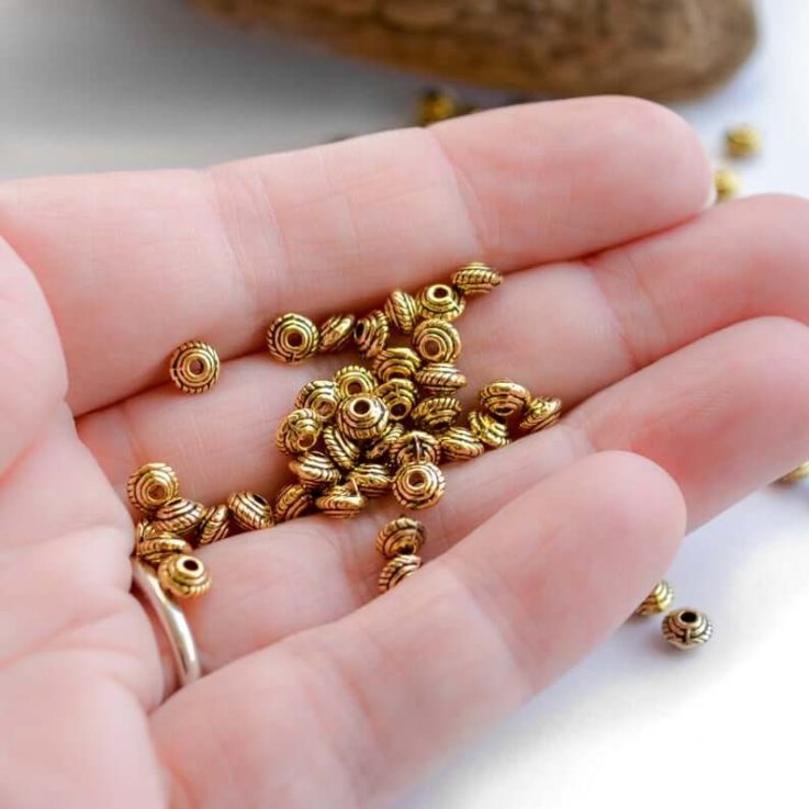 5x3mm Fancy Saucer Spacers Antiqued Gold Colored Beads