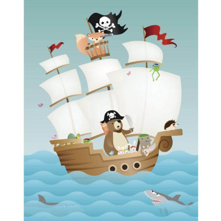 8x12 - Nursery Art, Kids Art, Kids Wall Art - Forest Friends Pirate Adventure