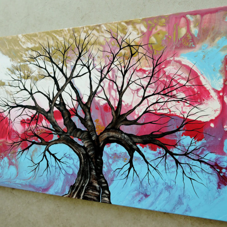 Abstract Tree Painting, Original Modern Wall Decor, Large Contemporary Abstract Art On Canvas, Tree Painting, Tree Abstract Art, Wall Art