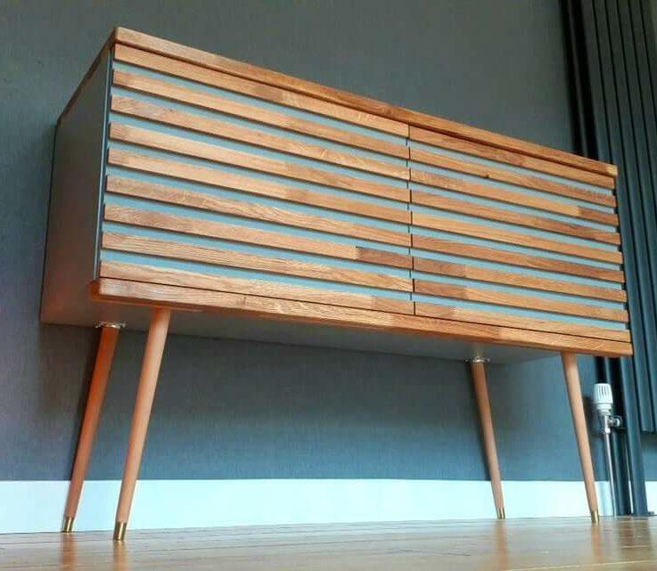Alto Platinum Grey Record Cabinet 70s Retro Sideboard