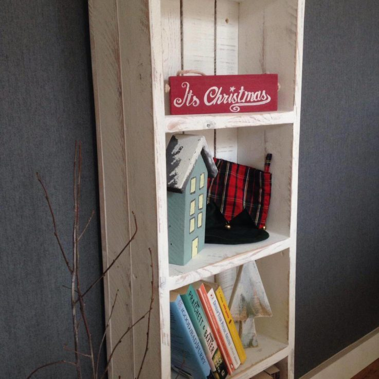 Antique Wood Bookcase Farmhouse Recycled Rustic