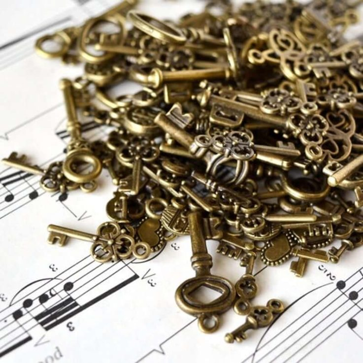 Assorted Key Charms and Pendants in Antiqued Bronze