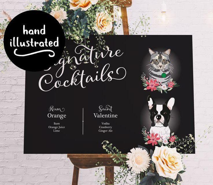 Bar Menu Wedding, Custom Pet Signature Drinks, Wedding Sign for Bar, Chalkboard Style. Bar Sign with Dog, Cat, Printed Cocktail List