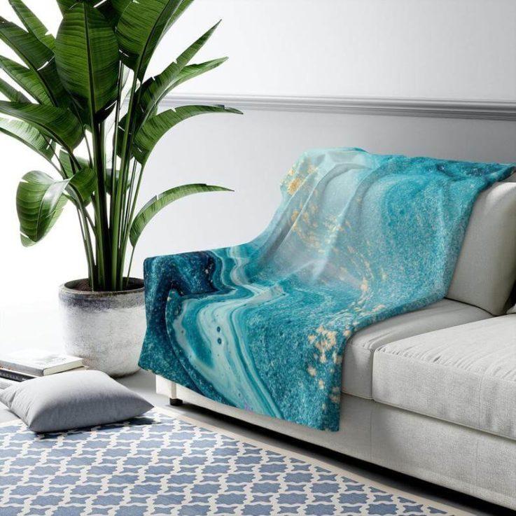 Blanket, Fleece Blanket, Throw Blanket, Blue Blanket, Marble Blanket, Art Blanket, Large Blanket, Gift for Her