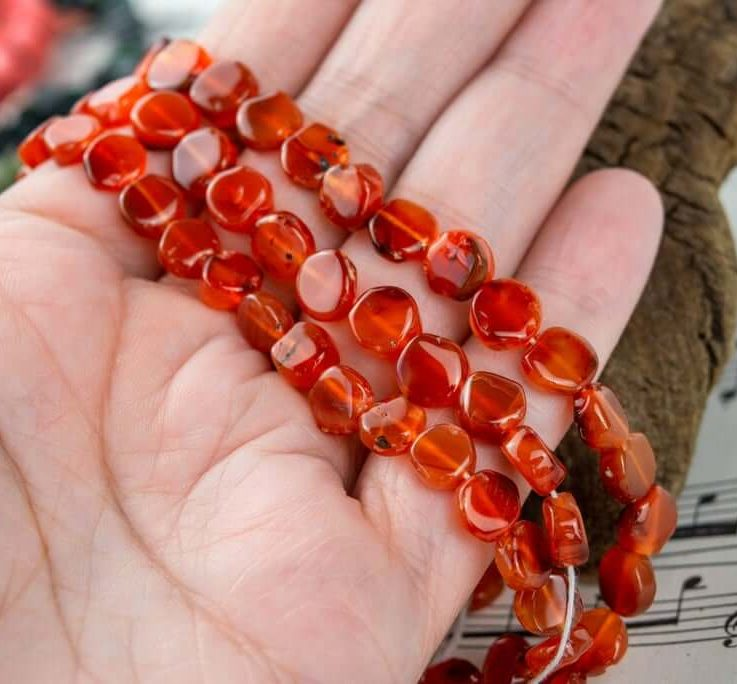 Carnelian 7mm Rough Coin Shaped Beads, Dyed-Heated Gemstone Beads in Beautiful Orange Color