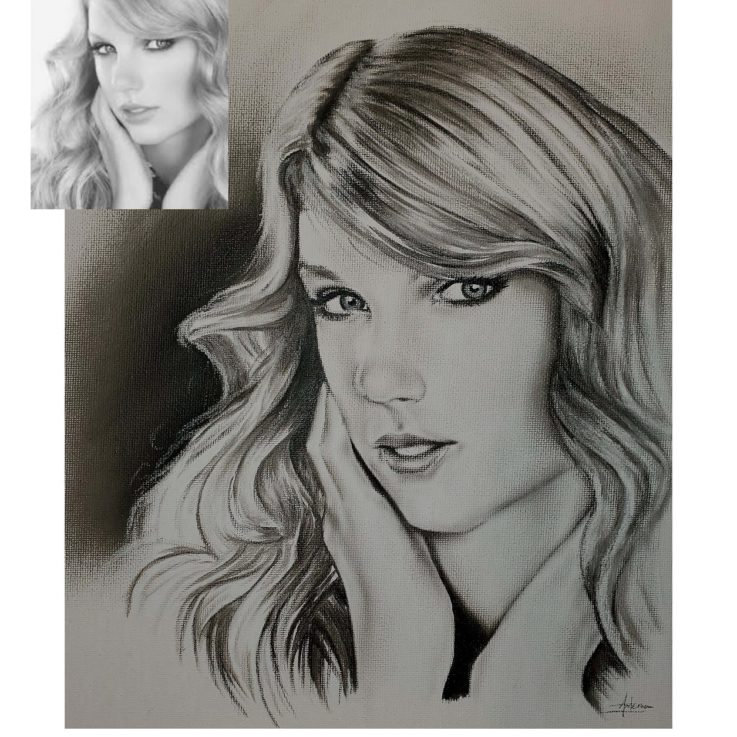 Charcoal drawing of Taylor Swift on canvas