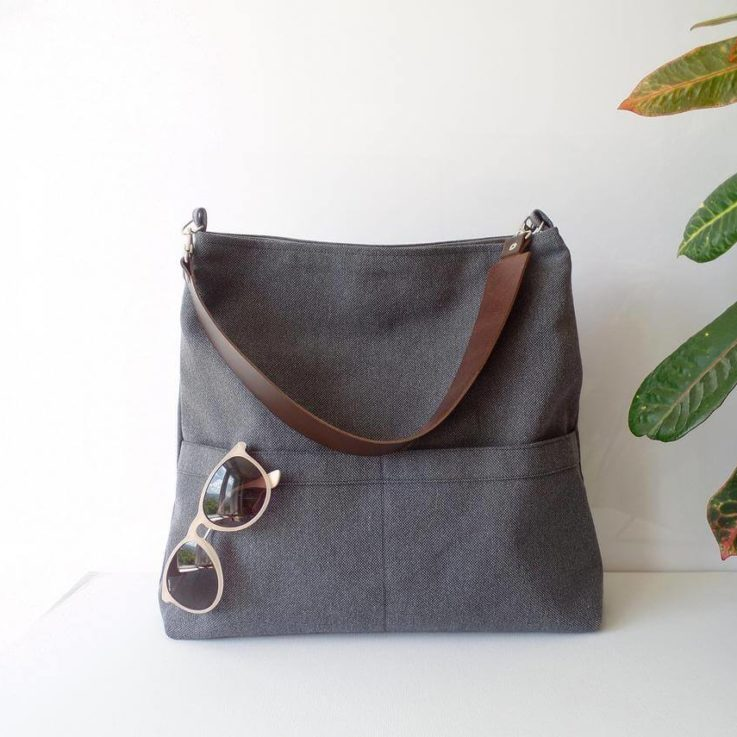 Charcoal gray hobo shoulder bag with real leather handle, Natural linen everyday casual large tote bag, Pocket tote bag