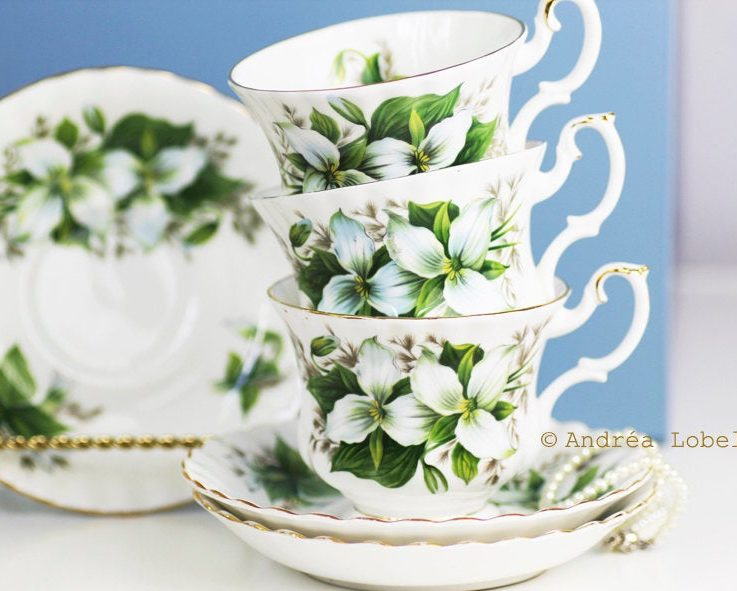 Classy Green & White Royal Albert's Trillium Teacup and Saucer