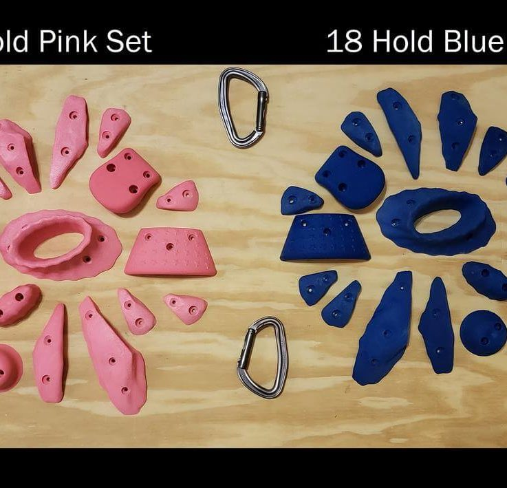 Climbing Holds 18 Piece set, Screw on Rock Climbing Holds, 8 Colors to Choose From
