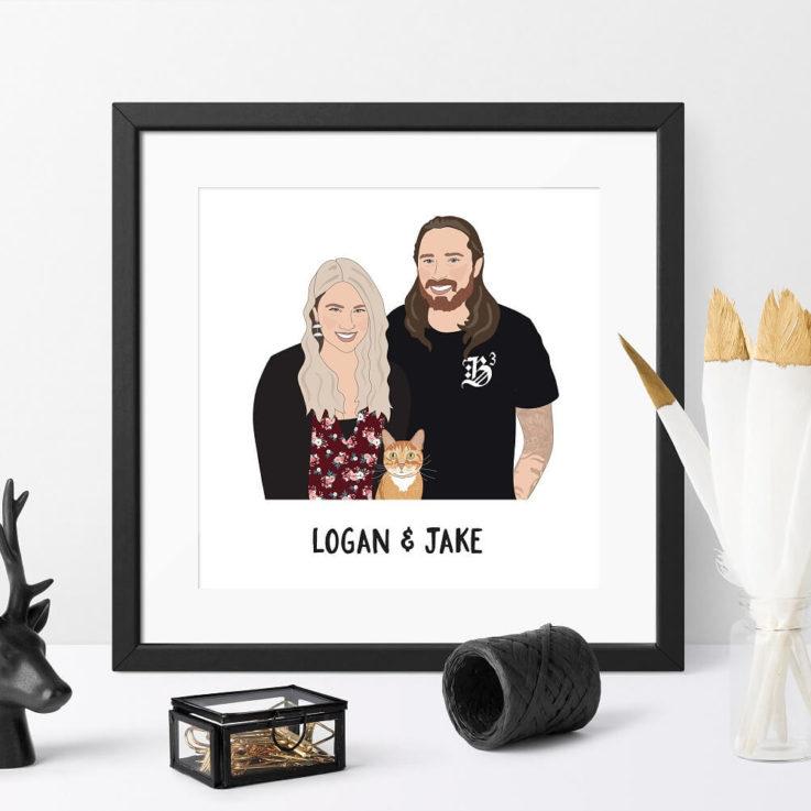 Custom Family Portrait Illustration - Personalised Family Portrait Illustration, Illustrated Family Portrait