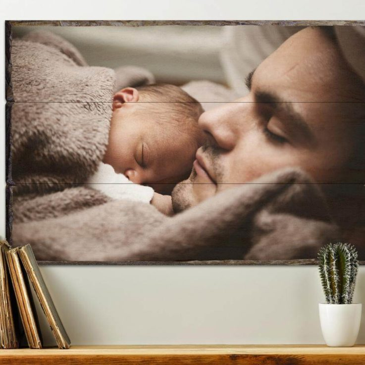 Custom Gift For Dad, New Dad First Fathers Day Gift Wife To Husband Gift Photo On Wood Personalized Dad Photo Gifts New Dad Custom Gift