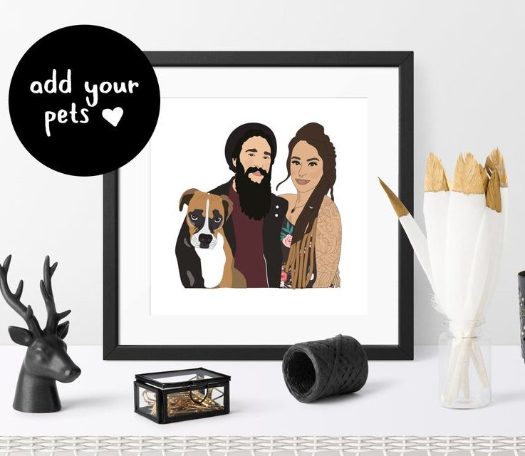 Custom Portrait of Couple with Pets Personalised Portrait Custom Couple Illustration Gift for Boyfriend Gift for Girlfriend