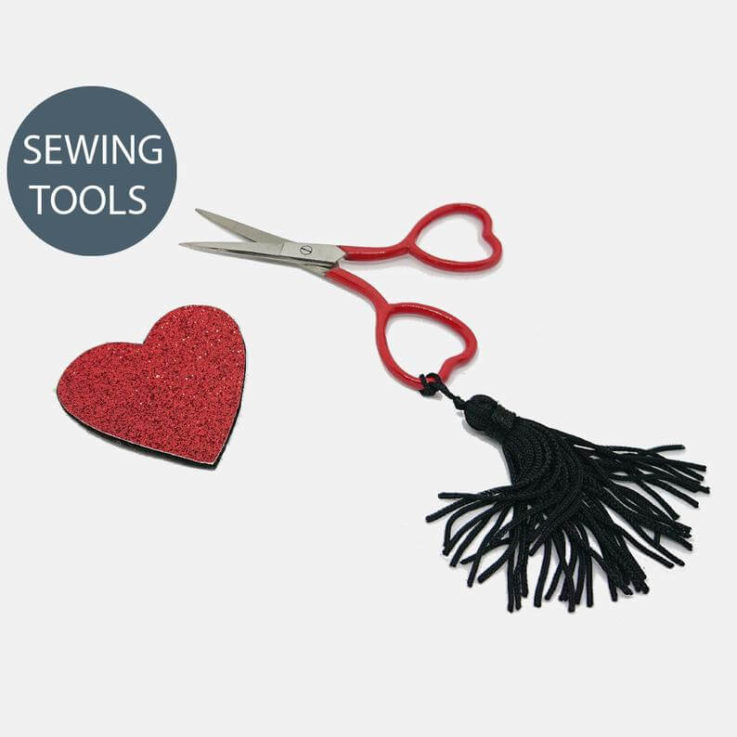 Cute Red Heart Shaped Embroidery Sewing Scissors with Red Glitter Needle Minder