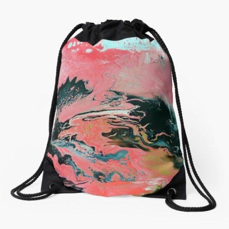 Drawstring Bag, Coral, Abstract Art, Painting, Bag, Tote Bag, Back Pack, Backpack, Art Tote Bag, Art Drawstring Bag, Painting Drawstring Bag