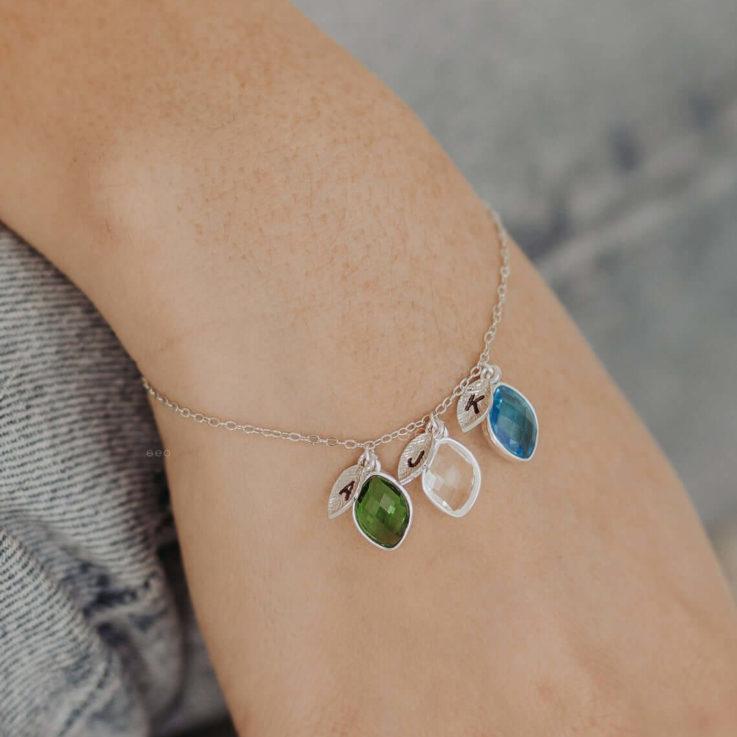 Family Tree Bracelet Mother Bracelet Mommy Bracelet Custom Initial Bracelet Personalized Bracelet Mothers Day Gift Nana Bracelet Emerald