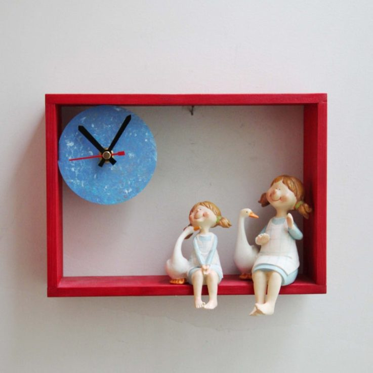 Girls with ducks clock, little girls with ducks resin sculptures in wooden frame clock, nursery clock of country girls with their ducks