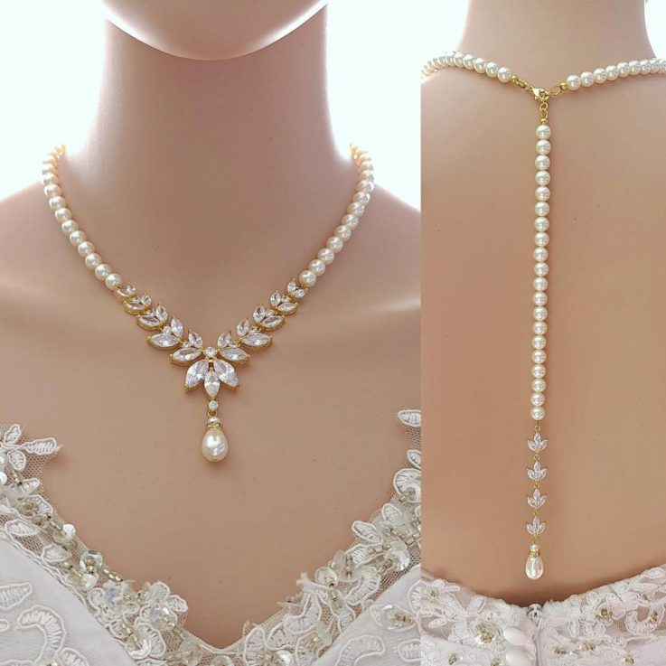Gold And Pearl Bridal Necklace With Back Drop, Wedding Necklace Set, Gold Bridal Jewelry, Katie