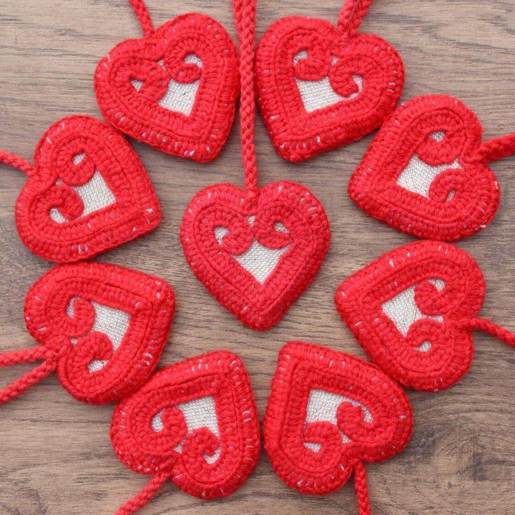 Handmade embroidery heart
