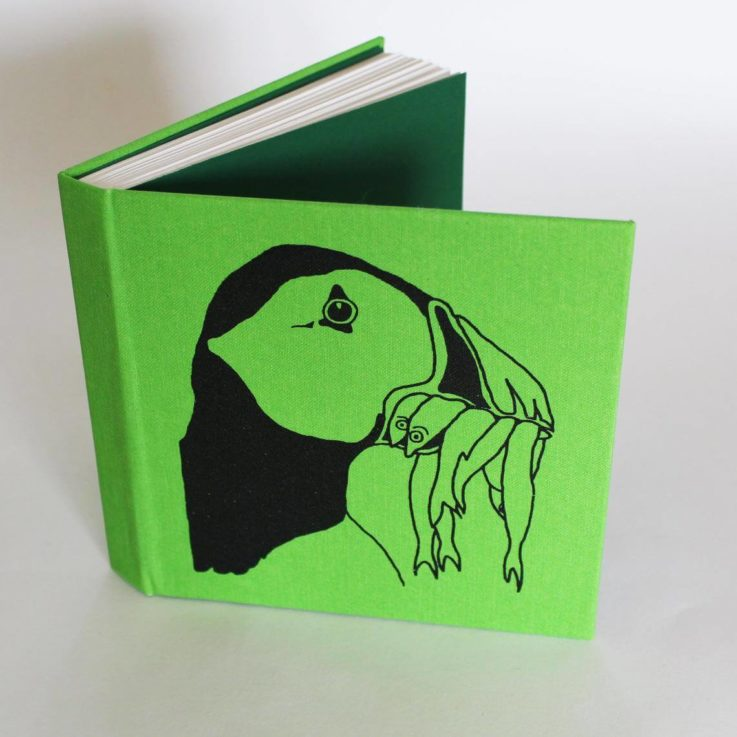 Hard back artists green Puffin square sketchbook notebook journal