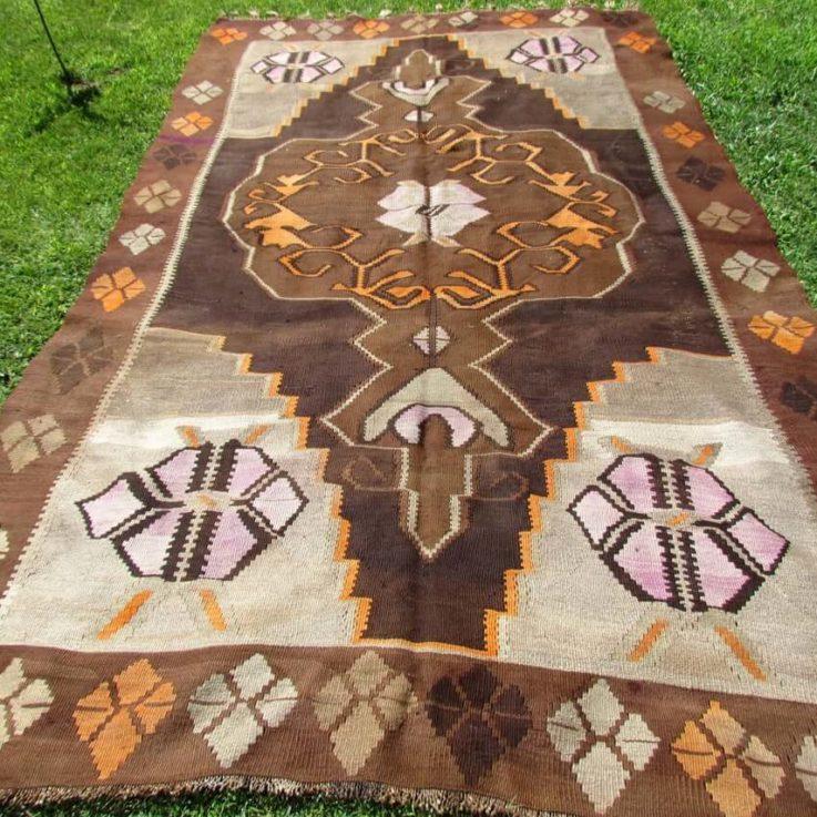Kars Kilim, Tribal Kilim, 11.35 x 6.98 Feet Rug, Handmade Rug, Vintage Kilim Rug, Antique Rug, Unique Rug, Brown Kilim, Oversized Kilim Rug