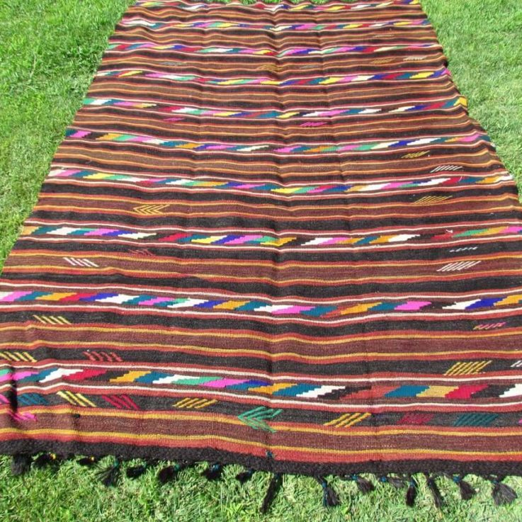 Kilim Rug, 9.74 x 6.23 Feet Rug, Outdoor Rugs For Patio, Boho Rug, Brown Rug, Turkish Kilim Rug, Area Rug, Handmade Rug, Vintage Rug