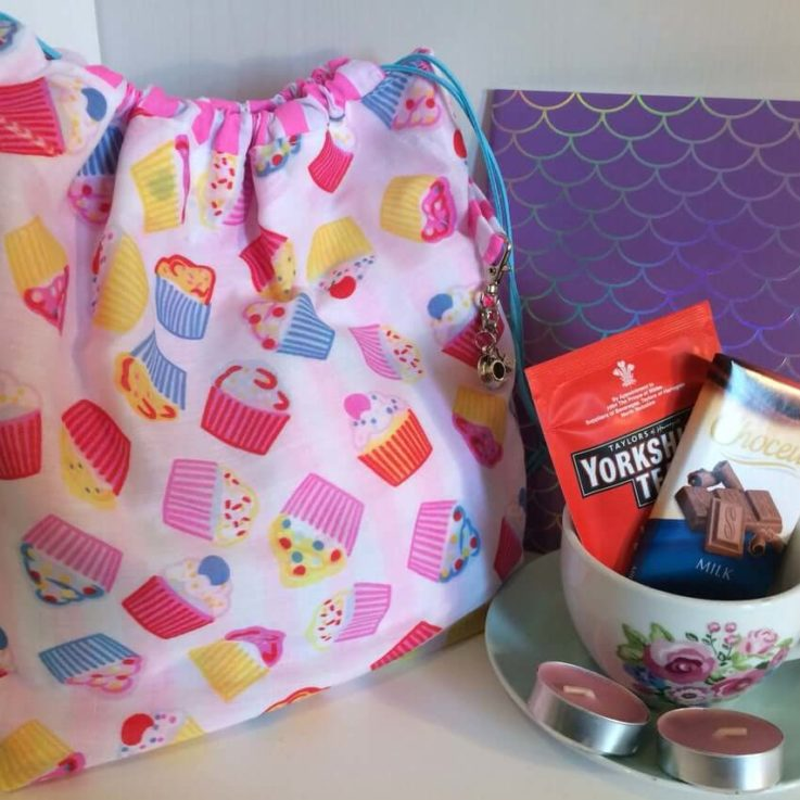 Knitting Crochet Bag Gift Set Cupcake Drawstring Project Bag and Accessories Hand Made Project Bag