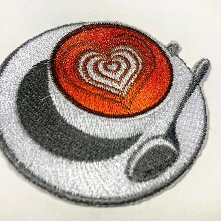 Large Cappuccino, Coffee Iron on patch