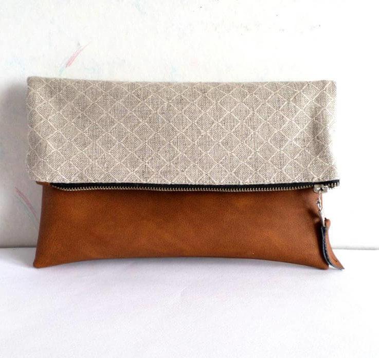 Leather and canvas clutch, geometric clutch, linen and leather clutch, vegan leather clutch, honey brown, caramel brown, natural beige