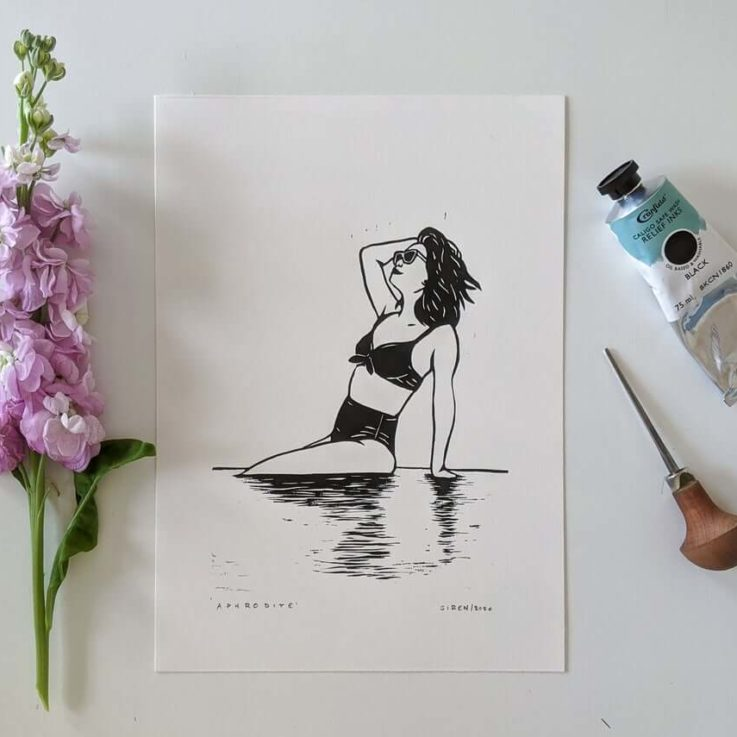 Linocut art print - Aphrodite Venus, Greek Roman goddess of love and beauty - Mythology & folklore linoprint
