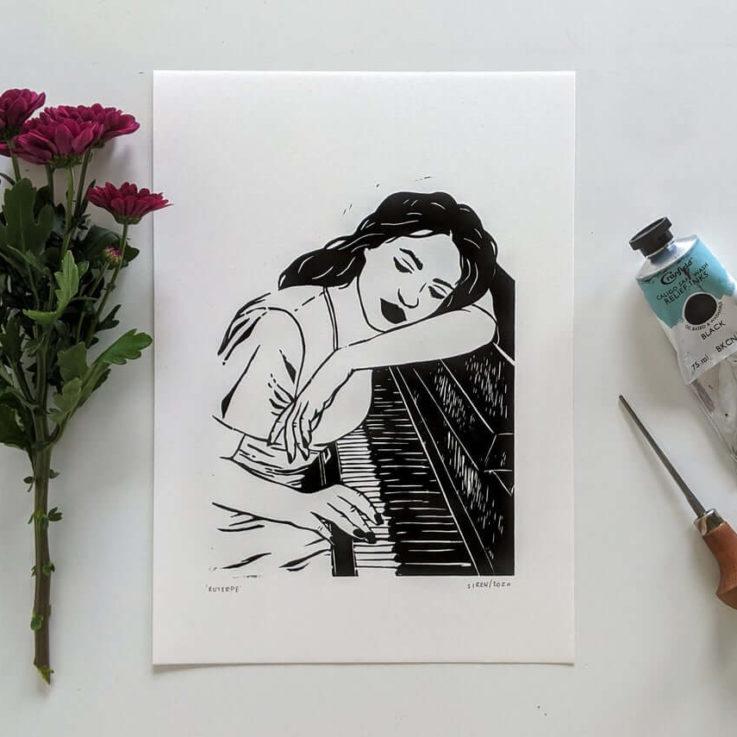 Linocut art print - Euterpe, Greek goddess of music - Mythology & folklore linoprint