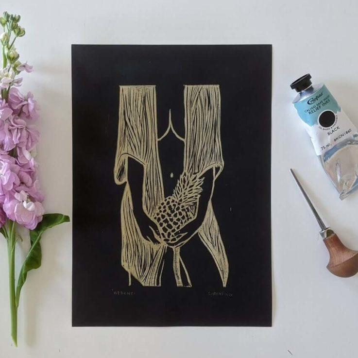 Linocut art print - Hedone Voluptas, Greek Roman goddess of pleasure and desire - Gold edition - Mythology & folklore linoprint