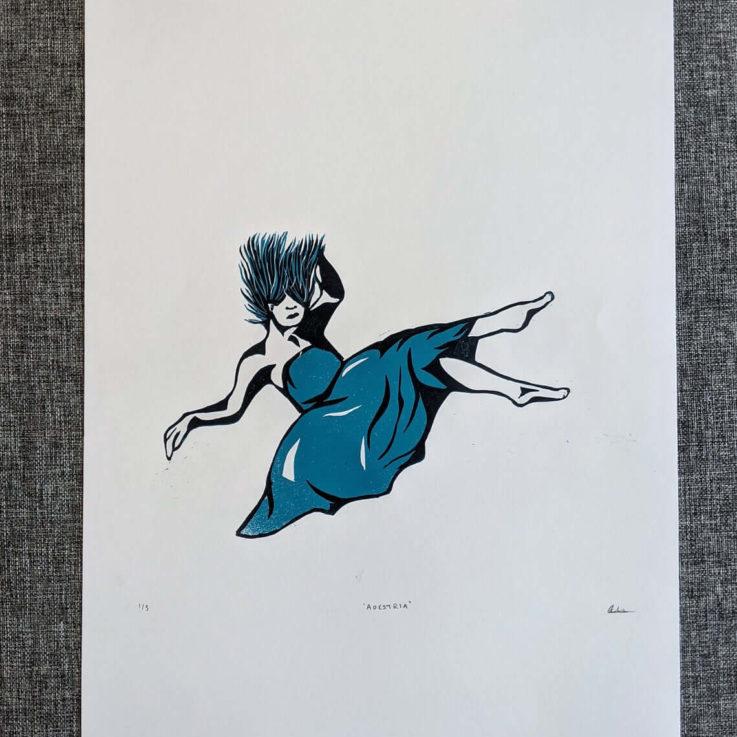 Linocut art print - Limited Edition - Adrestia, Greek goddess of war - Mythology & folklore linoprint