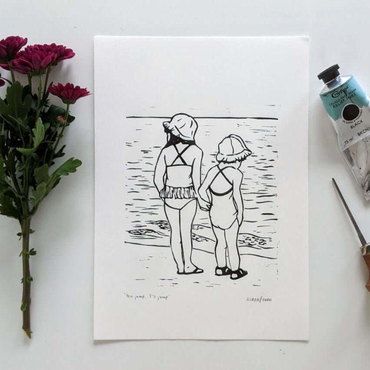 Linocut art print - You jump, I'll jump - Original linoprint