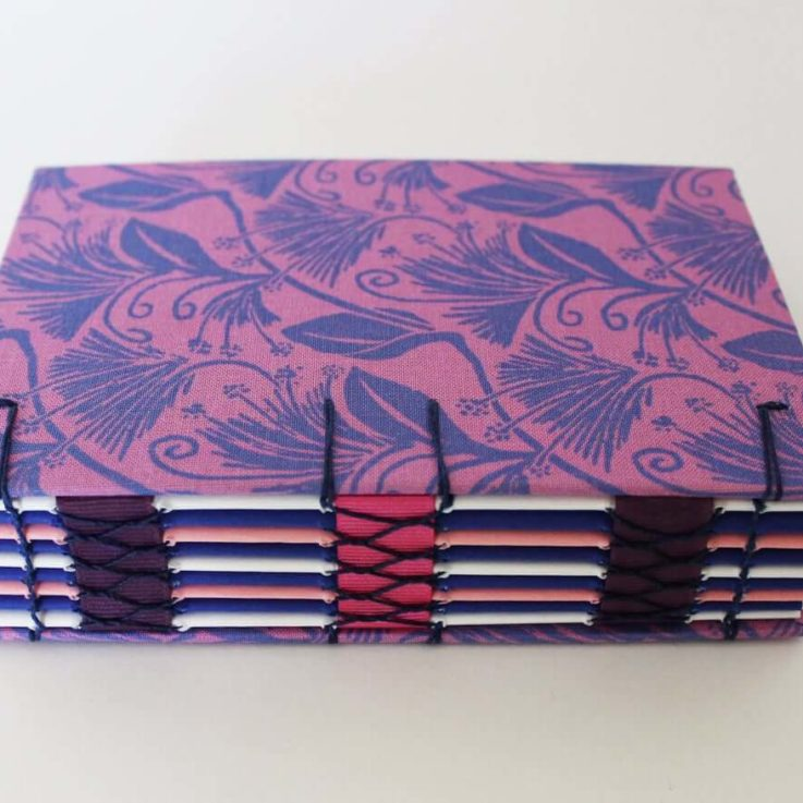 Mini journal, artists notebook, travel journal, hardbound sketchbook with coptic stitching. A6 Floral notebook