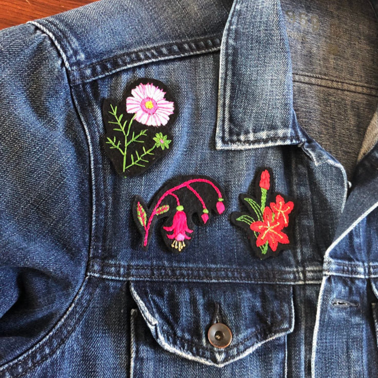 Modern Embroidery Kit , Hand Embroidered Flower Patch, Fuchsia, Ursinia, Cosmos, Kaffir Lily
