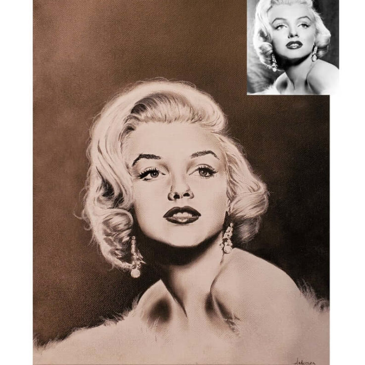 Original charcoal drawing of Marilyn Monroe on canvas
