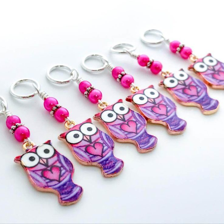 Owl Stitch Markers for Knitting, Crochet Stitch Marker, Gifts for Knitter, Choose Rings or Clasps