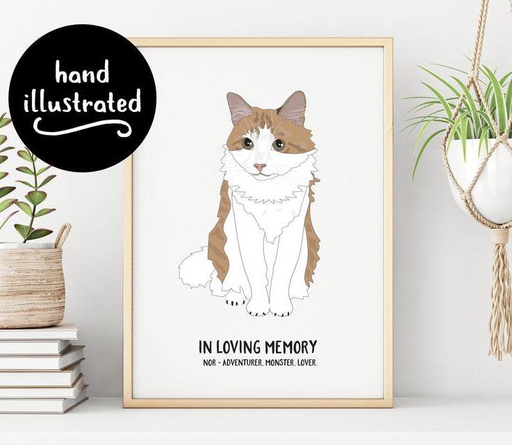 Pet Portrait Cat Portrait Custom Illustration of Dog Digital Print