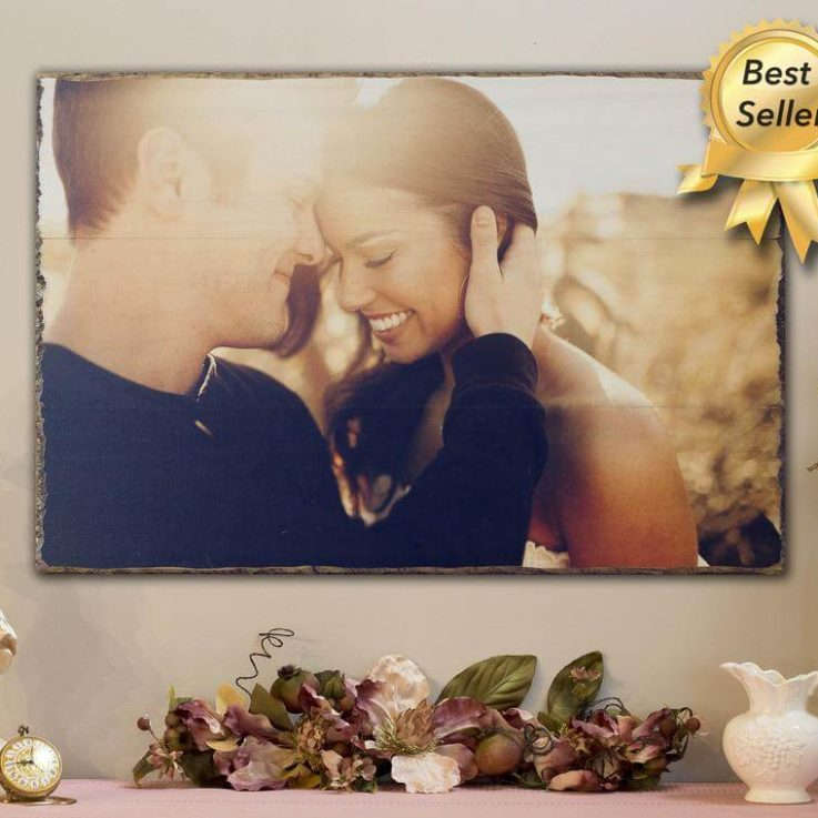 Photo on Wood for Personalized Wedding Couples Gift, 5th Anniversary Gift, Rustic Home Decor Pallet Pictures Gift for Him or Her