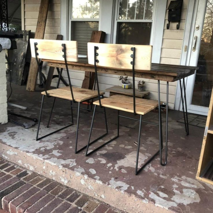Reclaimed wood and steel dining chairs
