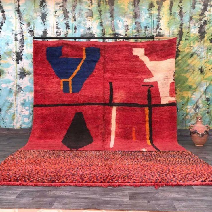Red Morocco rug 9x12 ft, Moroccan Carpet, Beni ourain rug, Handmade Vintage Rug, Traditional art, Berber Rug, Bohemian, Morocco Rugs