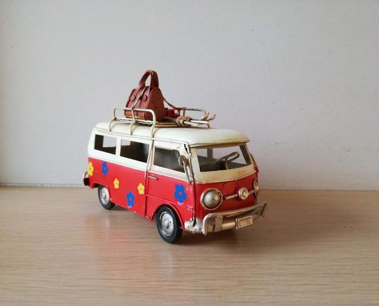 Red van miniature, hippie van in red and creamy white with painted flowers and baggage on baggage rack, collectible van miniature