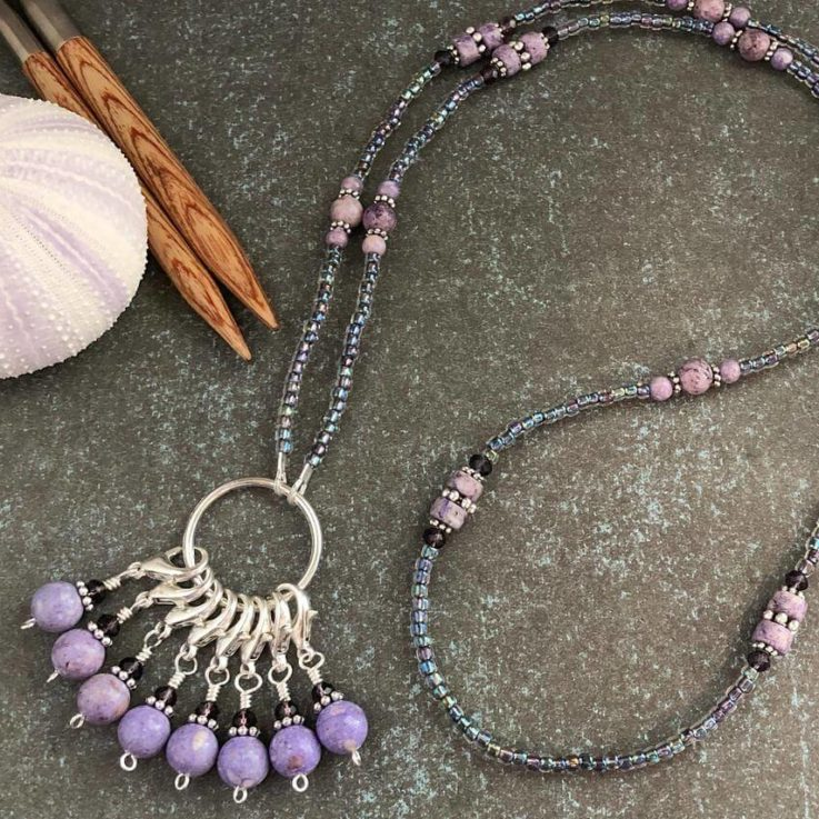 Riverstone Stitch Marker Necklace Gifts for Knitters Includes 8 Removable Progress Markers