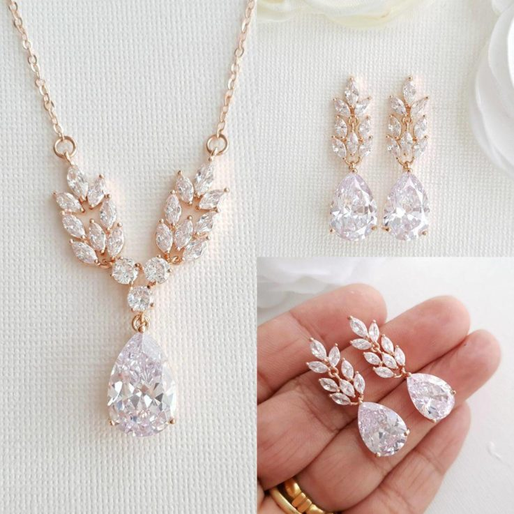 Rose Gold Bridal Jewelry Set, Wedding Earrings Drop, Earring Necklace Set, Crystal Bridal Necklace, Willow