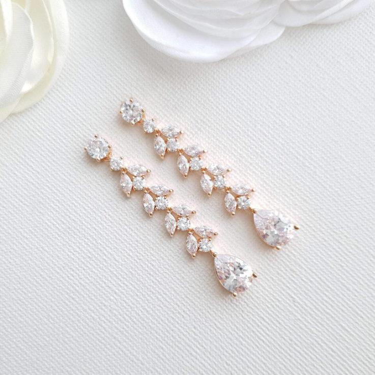 Rose Gold Marquise Long Bridal Earrings, Leaf Crystal Drop Earrings, Gold, Bride Wedding Earrings, Bridal jewelry, Kira